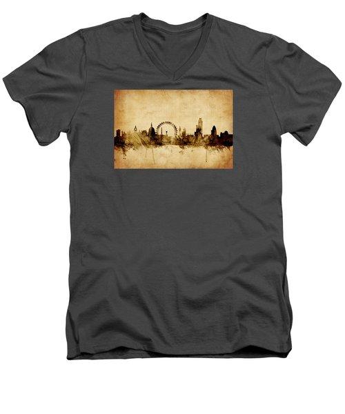 London England Skyline Men's V-Neck T-Shirt by Michael Tompsett