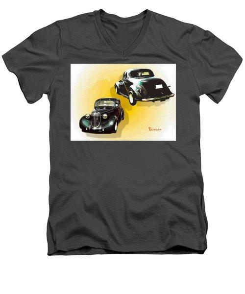 '38 Plymouth Men's V-Neck T-Shirt by Sadie Reneau