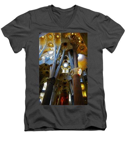 Artistic Achitecture Within The Sagrada Familia In Barcelona Men's V-Neck T-Shirt by Richard Rosenshein