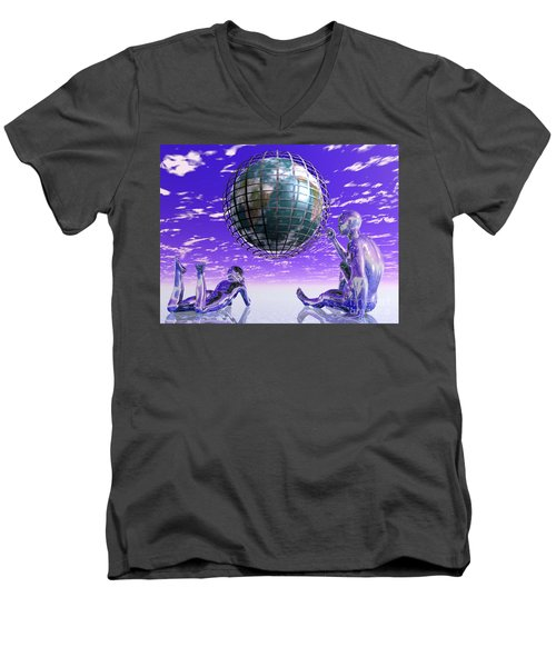 3d Aliens With Caged Earth Men's V-Neck T-Shirt