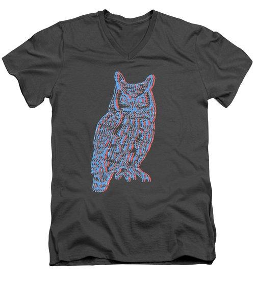 3d Owl Men's V-Neck T-Shirt by Cold Wash
