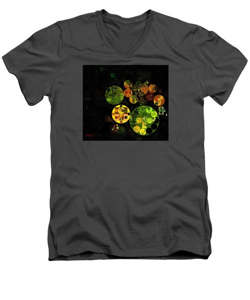 Men's V-Neck T-Shirt featuring the digital art Abstract Painting - Black by Vitaliy Gladkiy