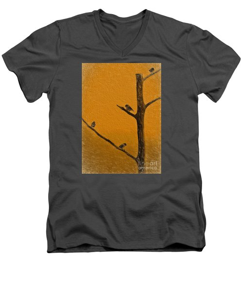 Men's V-Neck T-Shirt featuring the photograph 4 Birds by Mim White