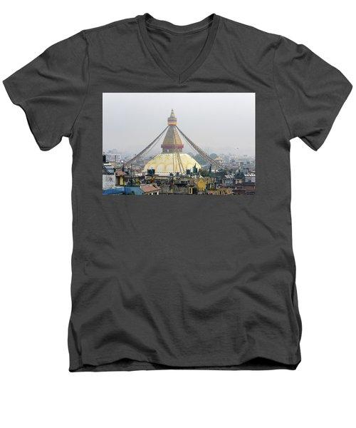 Boudhanath Stupa In Kathmandu Men's V-Neck T-Shirt