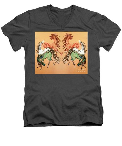 Dancing Musical Horses Men's V-Neck T-Shirt