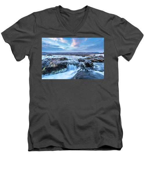 Godafoss Waterfall In Iceland Men's V-Neck T-Shirt
