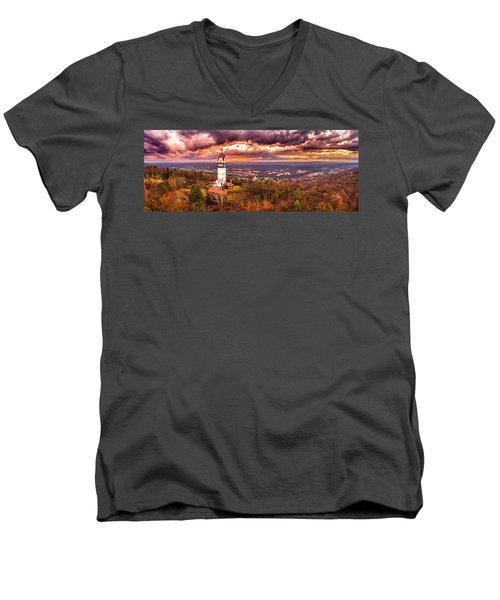 Heublein Tower, Simsbury Connecticut, Cloudy Sunset Men's V-Neck T-Shirt by Petr Hejl