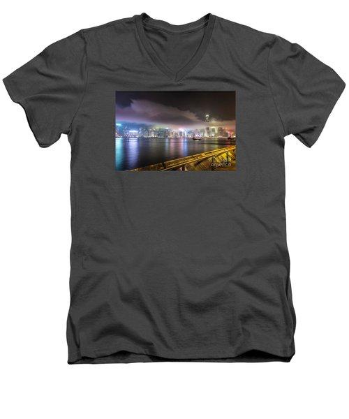 Hong Kong Stunning Skyline Men's V-Neck T-Shirt