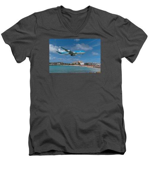 K L M Landing At St. Maarten Men's V-Neck T-Shirt by David Gleeson