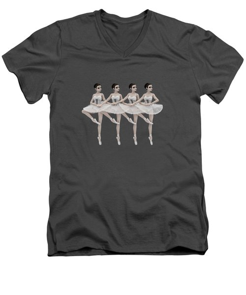 Men's V-Neck T-Shirt featuring the digital art 4 Little Swans by Methune Hively