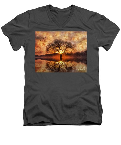 Lone Tree Men's V-Neck T-Shirt by Ian Mitchell