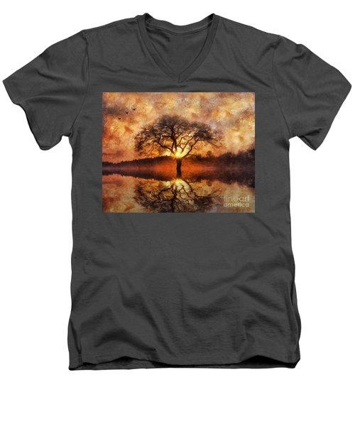 Lone Tree Men's V-Neck T-Shirt by Ian Mitchell