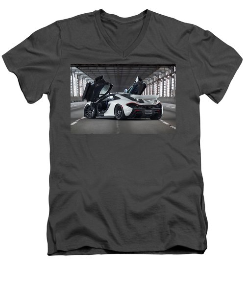 #mclaren #p1 #print Men's V-Neck T-Shirt