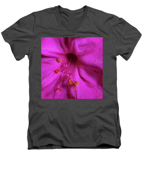 Men's V-Neck T-Shirt featuring the photograph 4 O'clock Bloom by Richard Rizzo