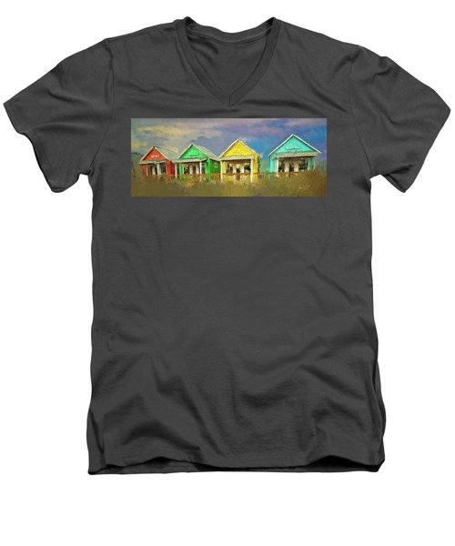 Men's V-Neck T-Shirt featuring the digital art 4 Of A Kind by Dale Stillman