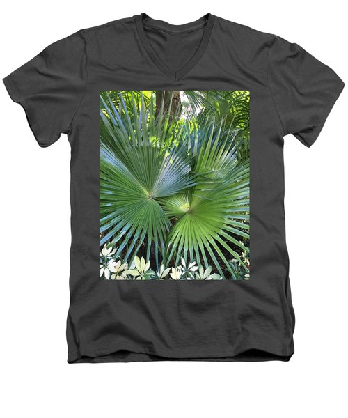 Palm Fronds Men's V-Neck T-Shirt by Kay Gilley