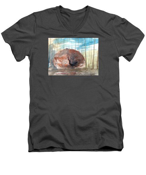 Men's V-Neck T-Shirt featuring the painting Peace by Trilby Cole