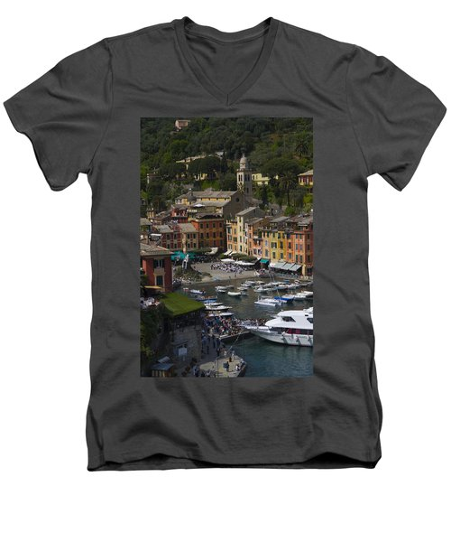Portofino In The Italian Riviera In Liguria Italy Men's V-Neck T-Shirt