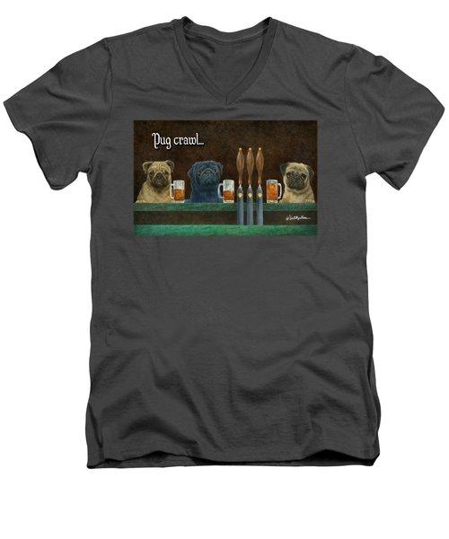 Pug Crawl... Men's V-Neck T-Shirt