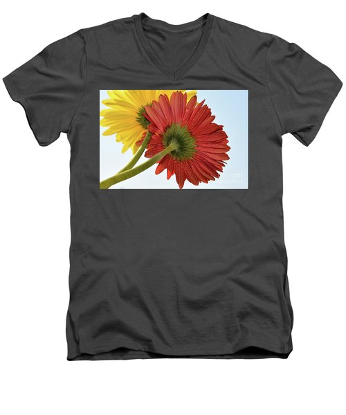 Red And Yellow Men's V-Neck T-Shirt by Elvira Ladocki