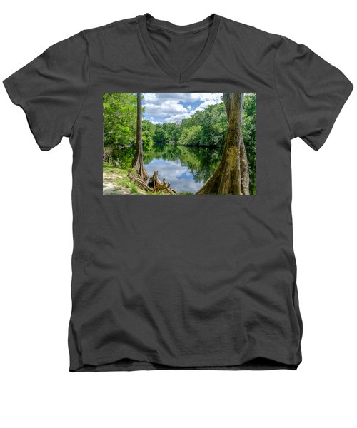 Men's V-Neck T-Shirt featuring the photograph Reflections by Louis Ferreira