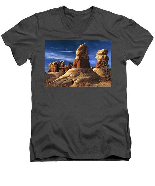 Sandstone Hoodoos In Utah Desert Men's V-Neck T-Shirt