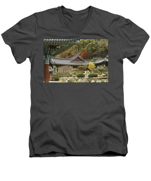Seonamsa In Autumn Men's V-Neck T-Shirt