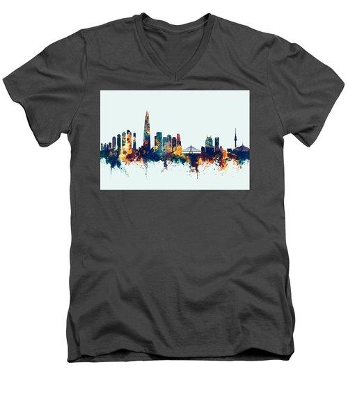 Men's V-Neck T-Shirt featuring the digital art Seoul Skyline South Korea by Michael Tompsett