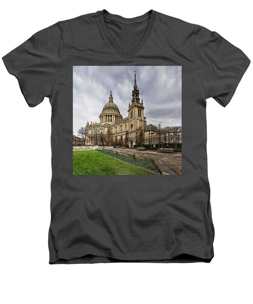 St Pauls Cathedral Men's V-Neck T-Shirt by Shirley Mitchell