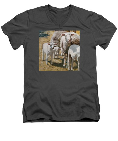 The Whole Family Is Here Men's V-Neck T-Shirt by John Reynolds