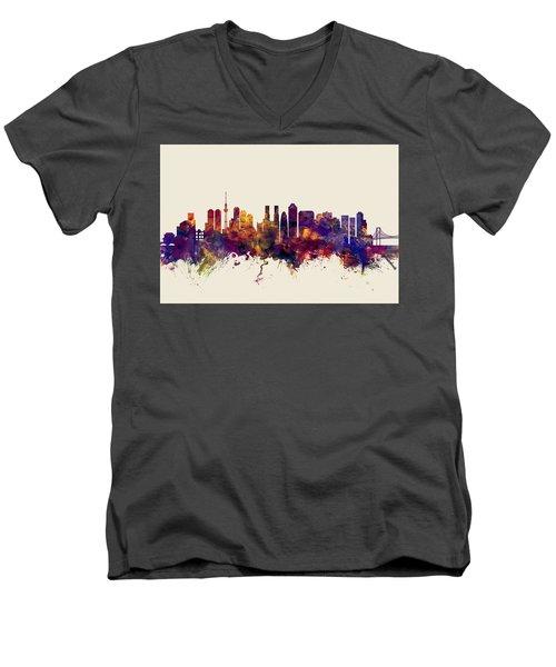 Tokyo Japan Skyline Men's V-Neck T-Shirt by Michael Tompsett