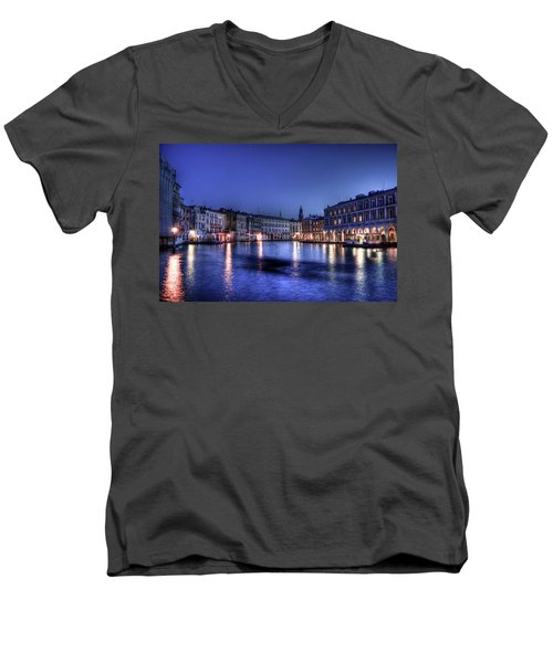 Venice By Night Men's V-Neck T-Shirt by Andrea Barbieri