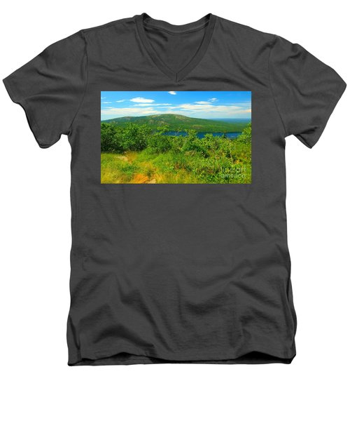 White Mountain's  Men's V-Neck T-Shirt by Raymond Earley