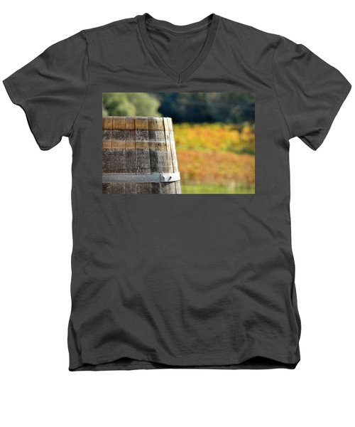 Wine Barrel In Autumn Men's V-Neck T-Shirt