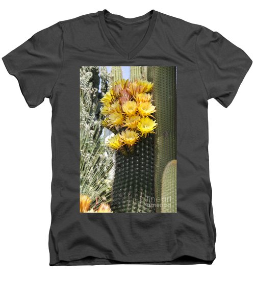 Yellow Cactus Flowers Men's V-Neck T-Shirt