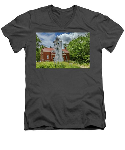 Men's V-Neck T-Shirt featuring the photograph 40 Mile Point Lighthouse by Bill Gallagher
