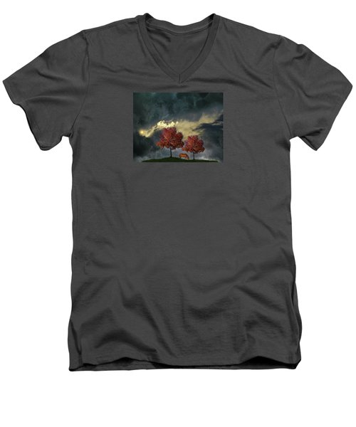 Men's V-Neck T-Shirt featuring the photograph 4384 by Peter Holme III