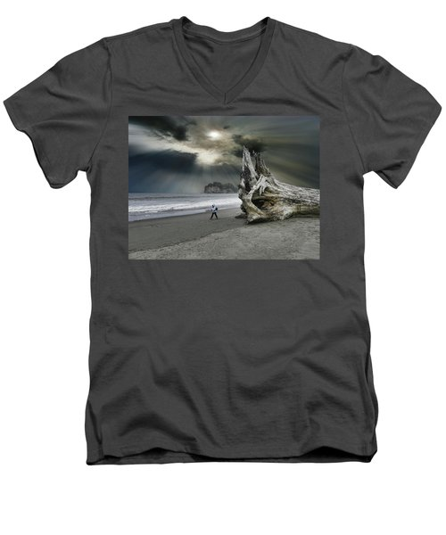 Men's V-Neck T-Shirt featuring the photograph 4392 by Peter Holme III