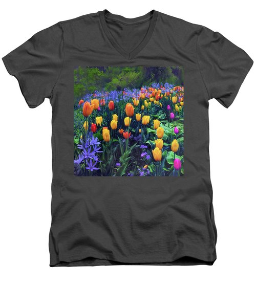 Procession Of Tulips Men's V-Neck T-Shirt