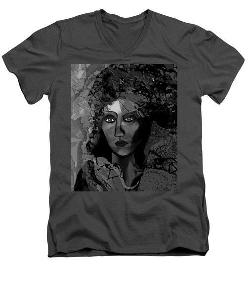 Men's V-Neck T-Shirt featuring the digital art 455 - Dark Dreamer by Irmgard Schoendorf Welch