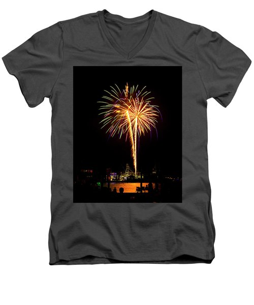 Men's V-Neck T-Shirt featuring the photograph 4th Of July Fireworks by Bill Barber