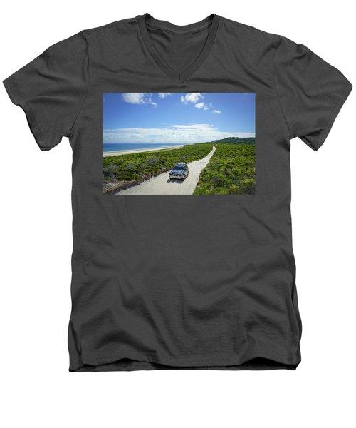 4wd Car Exploring Remote Track On Sand Island Men's V-Neck T-Shirt