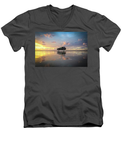 4wd Vehicle And Stunning Sunset Reflections On Beach Men's V-Neck T-Shirt