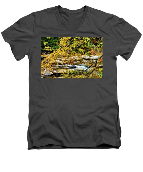 Autumn Middle Fork River Men's V-Neck T-Shirt