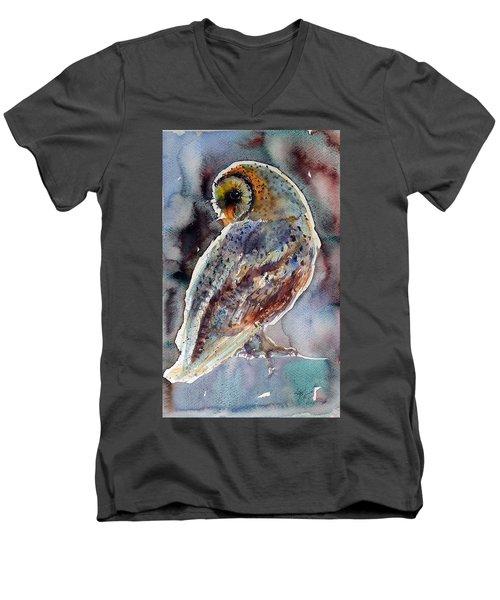 Barn Owl Men's V-Neck T-Shirt by Kovacs Anna Brigitta