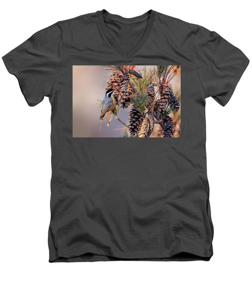 Men's V-Neck T-Shirt featuring the photograph Black-capped Chickadee by Peter Lakomy