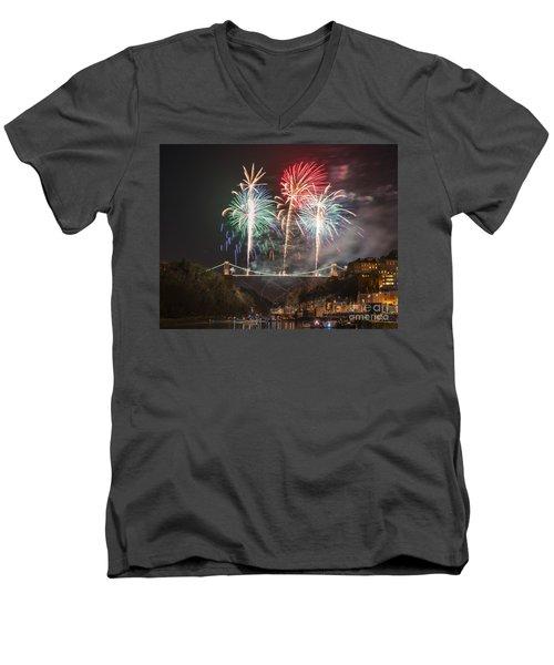 Clifton Suspension Bridge Fireworks Men's V-Neck T-Shirt