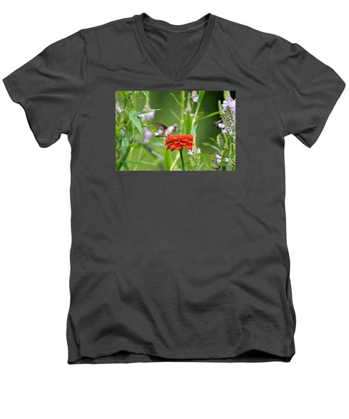 Men's V-Neck T-Shirt featuring the photograph Humming Bird by Lila Fisher-Wenzel