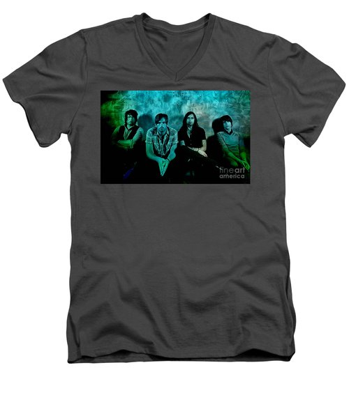 Men's V-Neck T-Shirt featuring the mixed media Kings Of Leon by Marvin Blaine