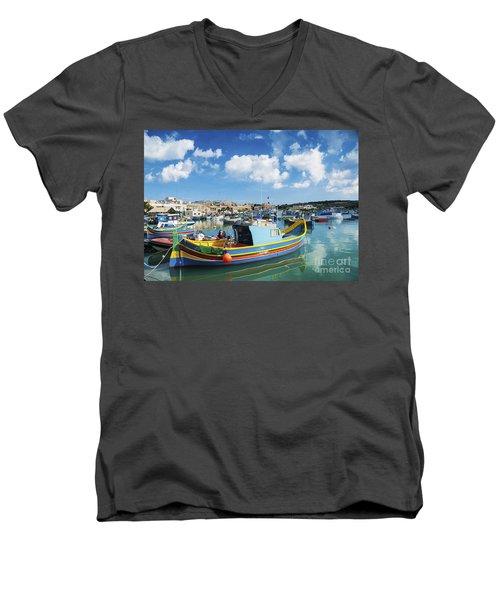 Marsaxlokk Harbour And Traditional Mediterranean Fishing Boats I Men's V-Neck T-Shirt